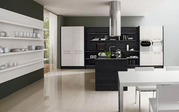 Dise o minimalista de una cocina en blanco y negro por for Diseno de cocinas minimalistas