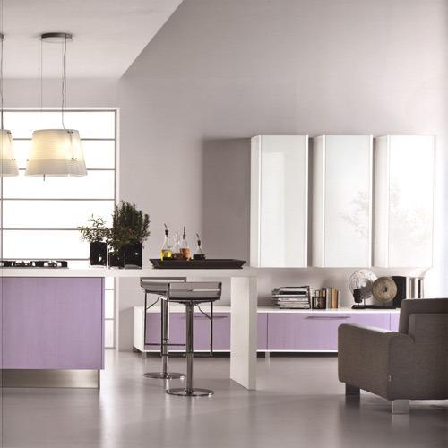 Modernos modelos de cocina color violeta y rosa por - Cocina color lila ...