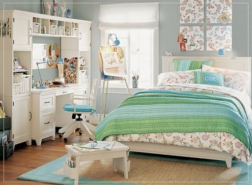 Habitaciones o dormitorios para chicas adolescentes arkihome for Blue and green girls bedroom ideas