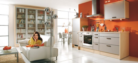Cocina color naranja arkihome for Dixversion meuble