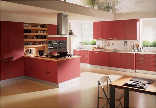 cocinas color rojo  Arkihome