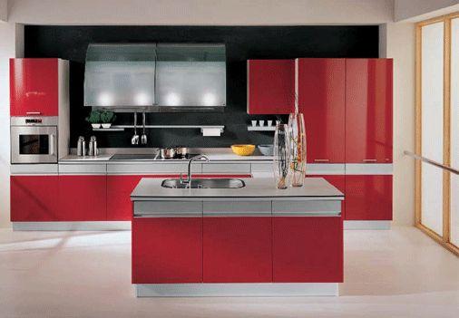 Cocinas color rojo arkihome - Cocinas de color rojo ...